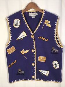 Vintage Castles Sport Women's M JMU James Madison Dukes Patch Logo Sweater Vest