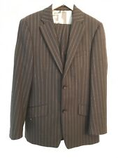 Remus Uomo Mens Dark Grey Suit ~ Striped Formal Suit/Size: 40R Chest and 30Waist