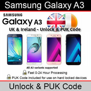 Samsung Galaxy A3 Unlock/PUK Code (All UK & Ireland Networks Supported)