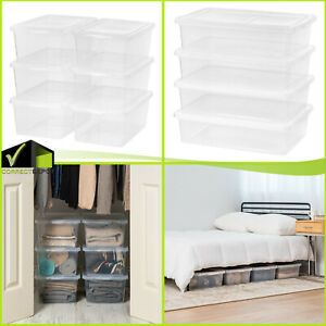 17/28 QT Plastic Sweater Storage Box Lid Clear 4 or 6 Pack Stackable Containers
