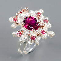 Rhodolite Ring Silver 925 Sterling Fine Jewelry Design Size 9 /R140728