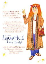 Postcard Horoscope Zodiac Star Sign AQUARIUS, Ladies, Women, Girls Novelty Gift