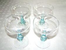 Elegant Sherbet/Wine Glasses, 4 sapphire/blue stems, crystal color bowls & bases