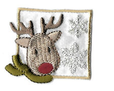 Reindeer - Winter - Deer - Snow - Embroidered Iron On Applique Patch