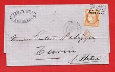 N° 38-SUR LETTRE ENTIÈRE-BORDEAUX-VERS TURIN-ITALIE-25/08/1874