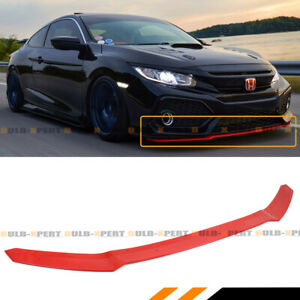 FOR 2017-2021 CIVIC HATCHBACK & Si GLOSSY RED HFP STYLE FRONT BUMPER LIP SPOILER