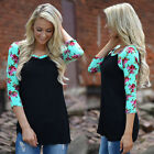 Womens Plus Size Long Sleeve Tops Blouse Boho Floral Cotton Loose Shirt Pullover