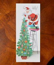Vintage UNUSED Christmas Card SILVERED SANTA Decorating TREE LADDER Mid-Century