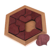 Child Kids Wooden IQ Game Jigsaw Intelligent Tangram Brain Teaser Puzzle Toy GX