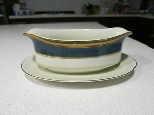 MIKASA IMPERIAL LAPIS GRAVY BOAT WITH ATTACHED UNDERPLATE