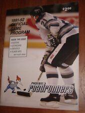 (IHL) PHOENIX ROADRUNNERS 1991-1992 game program (Goverde,Couturier,Thompson)