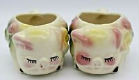 Vtg 1940-50s Shawnee POTTERY Art Pig Piggy Sugar Bowl Pink Green Flower Planter