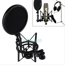 Audio Mic Microphone Shock Mount Stand Holder with Integrated Pop Filter Screen