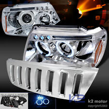 99-04 Grand Cherokee H2 Style Grille+Chrome Halo LED Projector Headlights