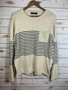 Men's J. Crew Tan Striped Sweater Size XL Crest Pocket Crew Neck Pullover Cotton