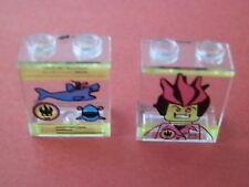 Lego 4864bpx5+4864bpx6# 2x panela 1x2x2 estampados transparente claro 8635