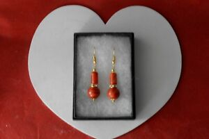 BEAUTIFUL GOLD PLATED EARRING WITH RED CORAL GEM 5.6 GR 3.5 Cm. LONG + HOOKS