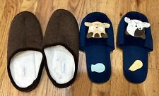 Lot If 2 Children's Slippers Size 7-8 Dearfoams And Domoko