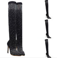 Women's Over Knee Thigh Boots Rhinestone Pointy Toe Pull On Stiletto Heel Shoes