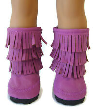 """Plum Purple Moccasin Boots W/ Fringe Shoes for 18"""" American Girl Doll Clothes"""