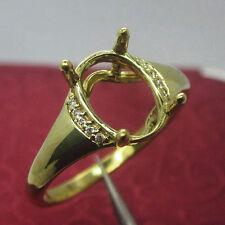 6x8mm Oval Cut 14kt 585 Yellow Gold Natural Diamond Semi Mount Brilliant Ring