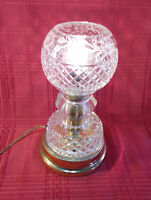 "Cut Glass Crystal Electric Boudoir Table Lamp Globe Shade 11"" High Vintage Heavy"