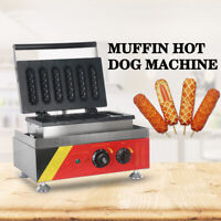 Commercial Electric 6PCS Muffin Hot Dog Lolly Machine Waffle Maker Iron Nonstick