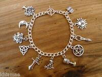 Wiccan Chunky Charm Bracelet - pentacle goddess green man pagan jewellery silver