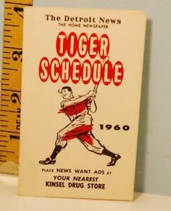 1960 Detroit Tigers Baseball Schedule The Detroit News Newspaper Kinsel Drug #DA