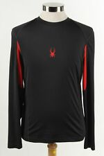 Spyder Black/Red Men's Long Sleeve Crew Neck Logo Active ware Shirt Size M