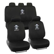 Black Skull Car Seat Covers Full Set - Front Rear Protectors Universal Fit
