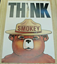 "Original 1974 Forest Fire Prevention Poster Smokey Bear THINK w/ a ""I"" Match"