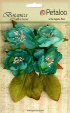 "Petaloo - BOTANICA COLLECTION ""TEAL""  4   Gorgeous Fabric Flowers 1102104"