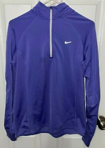 Nike Dri-Fit Running 1/4 Zip Long Sleeve Athletic Shirt Women's L Thumb Holes