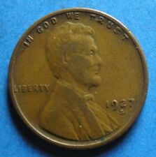 *1927-S* Lincoln Wheat Cent  vg-vf clear date free shipping