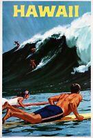 1950s Hawaii Hawaiian Island Surfing Vintage U.S. Travel Ad Art Poster Print