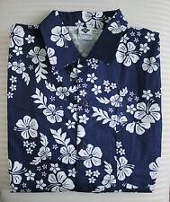 Columbia Sport Navy Blue & White Short Sleeve Hawaiian Shirt Medium