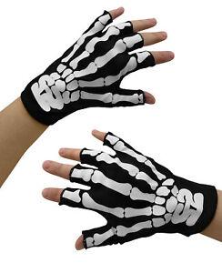 Fingerless Skeleton Bones Gloves Halloween Costume Accessory Adult Child Sized