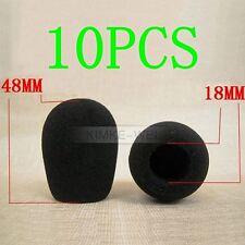 10 x Black Microphone Headset Windscreen Foam Mic Cover 48x18 mm