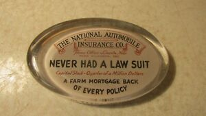 Antique Glass Paper Weight National Automobile Ins. Co. Lincoln Neb