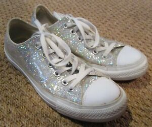 Converse CT Glitter Ox Silver Sneakers Size 6 Men 8 Women 109451F