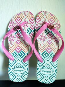 Havaianas Pink & Turquoise Flip Flops, Size 11/12...GREAT Condition!