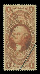 US 1862 Washington - MORTGAGE - $1.00 dull red  w/perf. Error Sc# R73c used VF+