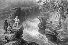 CANADA Marches Naturelles Falls Montmorenci - 1840s Engraving Print by BARTLETT