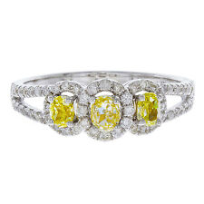 14k White Gold Yellow Canary Diamond Engagement Ring  0.75ct TDW  Size 7
