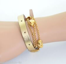 ALEXANDER McQUEEN GOLD LEATHER AND SKULL CHAIN DOUBLE WRAP BRACELET BNWT