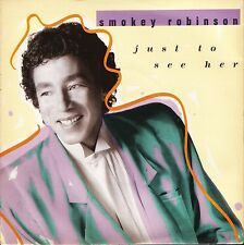 """SMOKEY ROBINSON just to see her ZB41147 uk motown 1987 7"""" PS EX/EX"""