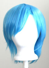 11'' Short Straight Layered Sky Blue Synthetic Cosplay Wig NEW