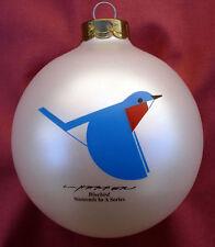 Charlie/ Charley Harper - Glass Christmas Ornament - BLUEBIRD - bird fun