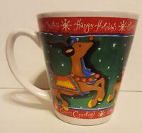GW Coffee Mug Cup Reindeer Happy Holidays Merry Christmas Seasons Greetings